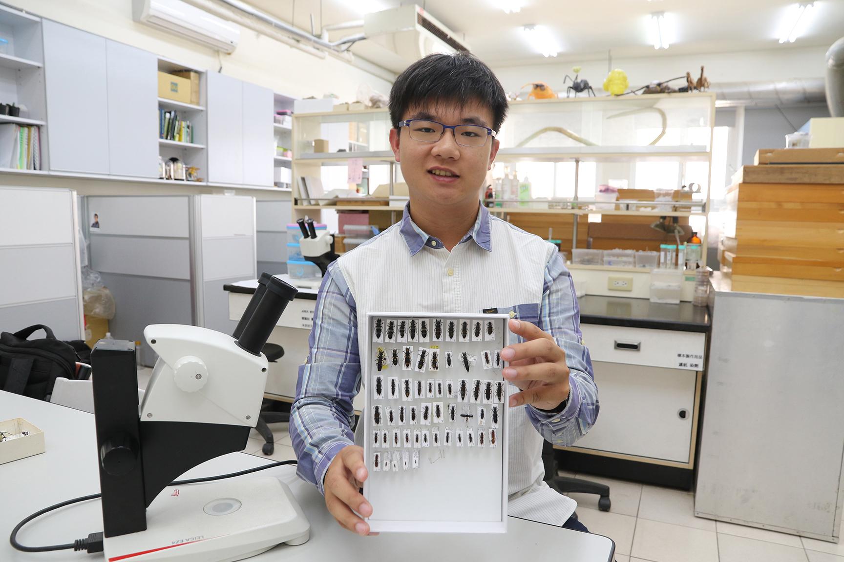 興大昆蟲系大學生胡芳碩,鍾情隱翅蟲研究,兩年發表10篇國際論文。