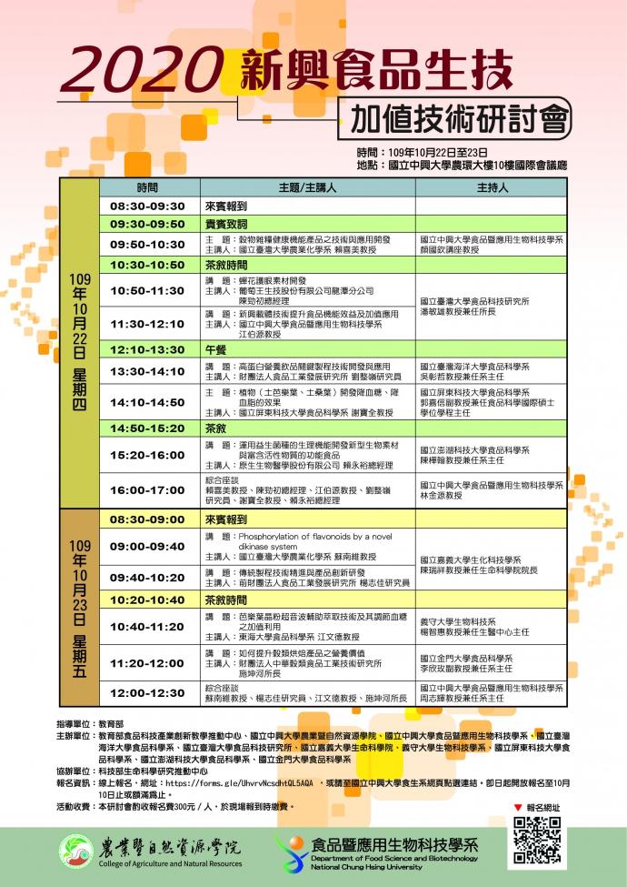 2020 新興食品生技加值技術研討會(109年10月22日至23日)